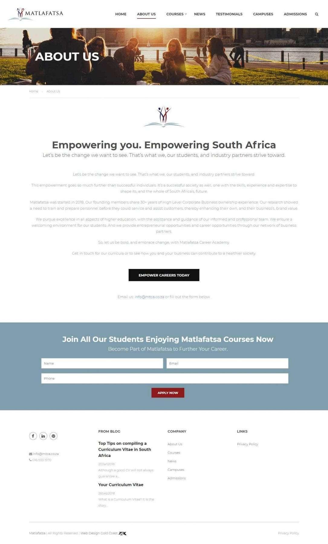Matlafatsa website - About Us